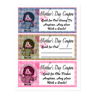 Cupones del día de madre tarjeta postal