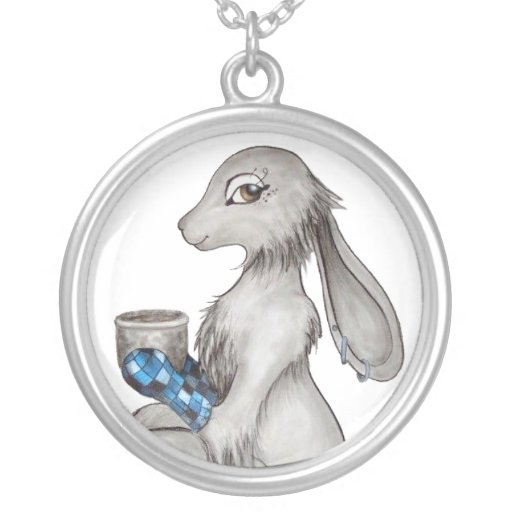 Cuppa Bunny Round Pendant Necklace