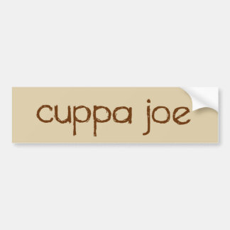 cuppa joe logo in brown - bumper sticker