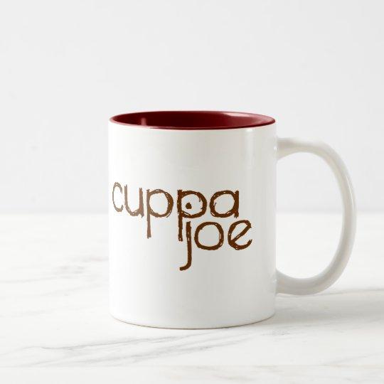 cuppa joe logo in brown - Two-Tone coffee mug