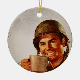 Cuppa Joe Double-Sided Ceramic Round Christmas Ornament