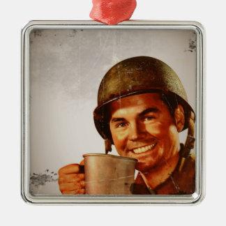 Cuppa Joe Square Metal Christmas Ornament