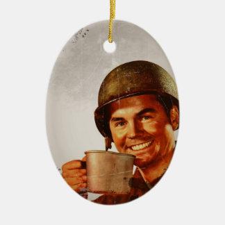 Cuppa Joe Double-Sided Oval Ceramic Christmas Ornament