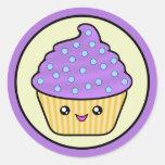 Cuppy Cake Purple Kawaii Classic Round Sticker