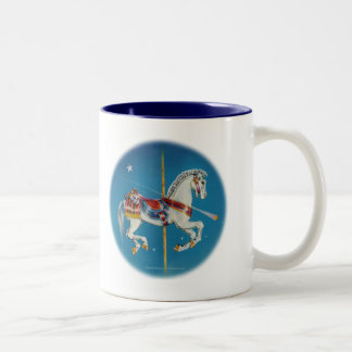 Cups, Mugs - Red, White & Blue Carousel Horse