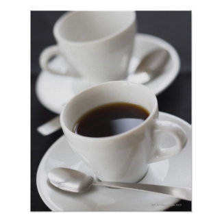 Cups of coffee with saucer poster