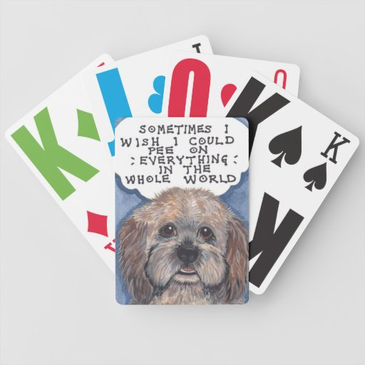 """Cur""mudgeon dog with Attitude Playing Cards"