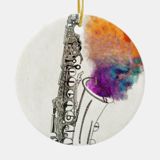 Cura del saxofón adorno redondo de cerámica
