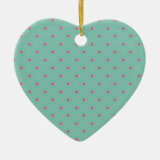 Curaçao azul y modelo de lunares medio rosado adorno de cerámica en forma de corazón
