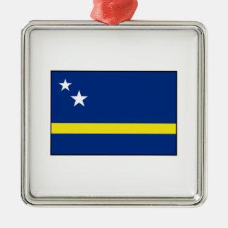Curaçao - bandera de Curacaoan Adorno Navideño Cuadrado De Metal