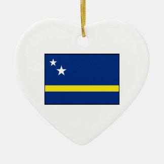 Curaçao - bandera de Curacaoan Adorno Navideño De Cerámica En Forma De Corazón