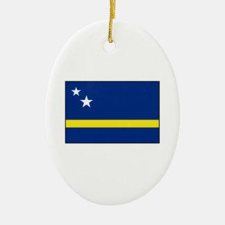Curaçao - bandera de Curacaoan Adorno Navideño Ovalado De Cerámica
