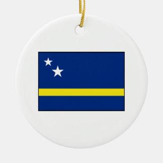 Curaçao - bandera de Curacaoan Adorno Navideño Redondo De Cerámica