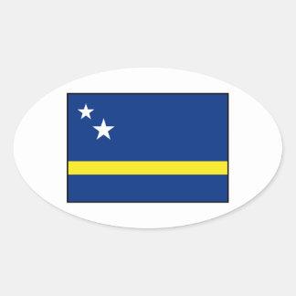 Curaçao - bandera de Curacaoan Pegatina Ovalada