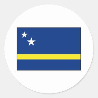 Curaçao - bandera de Curacaoan Pegatina Redonda