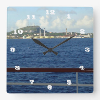 Curacao Coastline Square Wall Clock