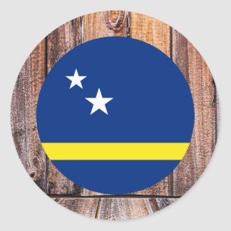 Curacao flag circle on wood background classic round sticker