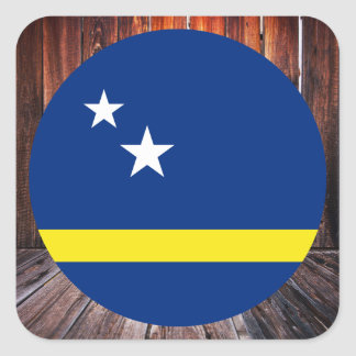 Curacao flag circle on wood background square sticker