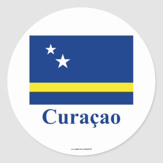 Curacao Flag with Name in Dutch Round Stickers