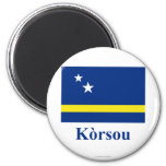Curacao Flag with Name in Papiamento Fridge Magnets
