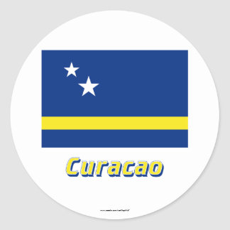 Curacao Flag with Name Classic Round Sticker