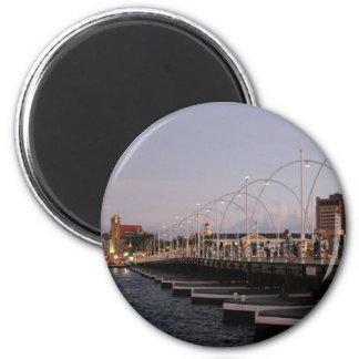 Curaçao Queen Emma Pontoon Bridge at Dusk 2 Inch Round Magnet