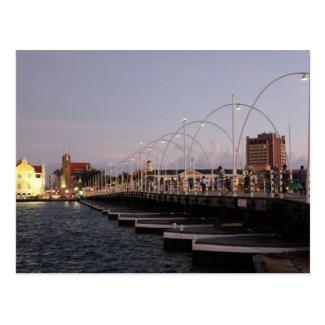 Curaçao Queen Emma Pontoon Bridge at Dusk Postcard