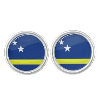 Curaçao redondo brillante señala por medio de una gemelos
