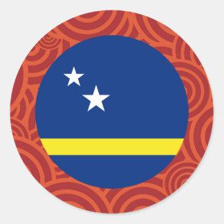 Curacao round flag classic round sticker