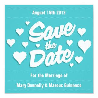 """Curacao Save the Date Hearts Invitation 5.25"""" Square Invitation Card"""