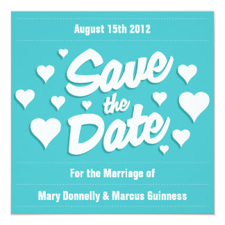 Curacao Save the Date Hearts Invitation