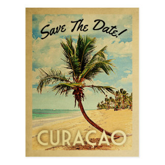 Curacao Save The Date Vintage Beach Palm Tree Postcard