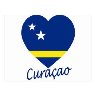 Curaçao señala el corazón por medio de una bandera postales