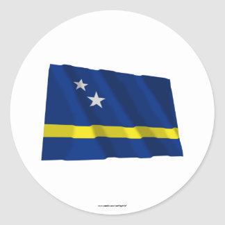 Curacao Waving Flag Classic Round Sticker