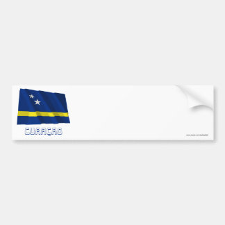Curacao Waving Flag with Name Car Bumper Sticker