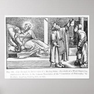 Curación con la intercesión de una cura póster