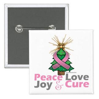 Curación de la alegría del amor de la paz del cánc pin cuadrada 5 cm