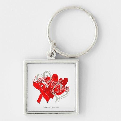 Curación de la esperanza del amor del SIDA Llavero Cuadrado Plateado