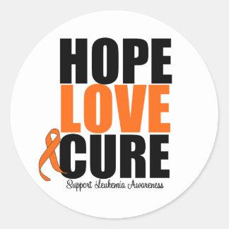 Curación del amor de la esperanza de la leucemia pegatina redonda