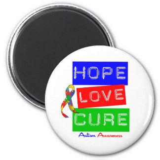 Curación del amor de la esperanza del autismo imán redondo 5 cm