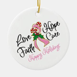 Curación del amor de la esperanza del cáncer de adorno navideño redondo de cerámica