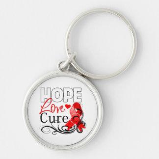 Curación del amor de la esperanza del cáncer de sa llavero redondo plateado