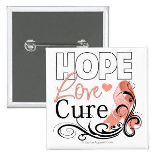 Curación del amor de la esperanza del cáncer pin cuadrado
