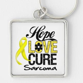 Curación del amor de la esperanza del sarcoma llavero cuadrado plateado