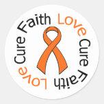 Curación del amor de la fe de la leucemia etiquetas redondas