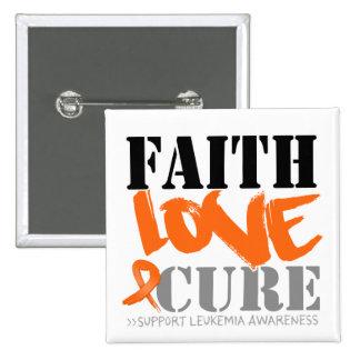 Curación del amor de la fe de la leucemia pin cuadrado
