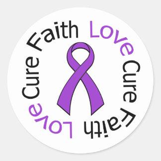 Curación del amor de la fe de Leiomyosarcoma Pegatina Redonda