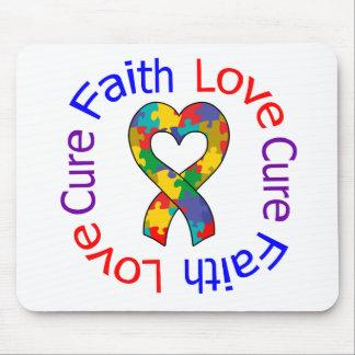Curación del amor de la fe del autismo tapete de ratón