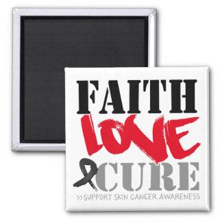 Curación del amor de la fe del cáncer de piel imán cuadrado