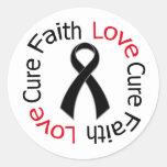 Curación del amor de la fe del melanoma pegatina redonda